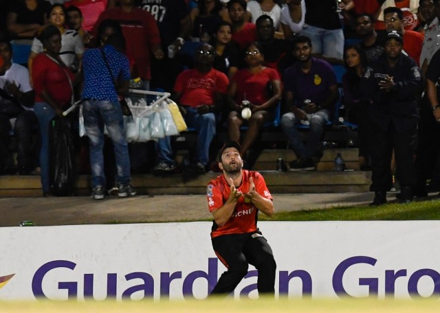 1 July 2016; (Sub) Anton Devcich of Trinbago Knight Riders catching Steven Taylor of Tridents during Match 3 of the Hero Caribbean Premier League between Trinbago Knight Riders and Tridents at Queen's Park Oval in Port of Spain, Trinidad. Photo by: Randy Brooks/Sportsfile