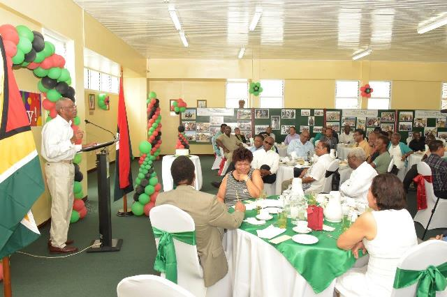 President David Granger addressing the Ministers of Government, other officials and members of the People's National Congress at the Special Breakfast, which was held in his honour at Congress Place, Sophia, this morning.  (GINA photo)
