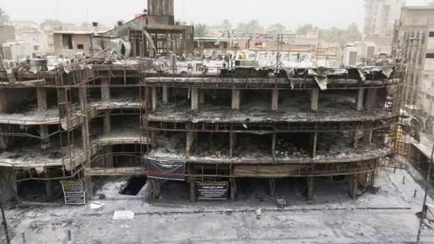 The Hadi Center, which used to be full of busy clothes shops and cafes, was gutted (Reuters photo)