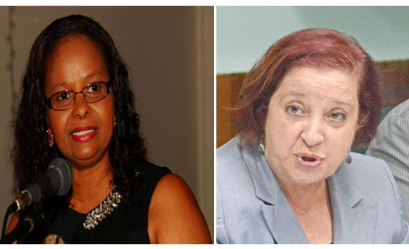 Minister of Social Protection Volda Lawrence and PPP/C MP Gail Teixeira