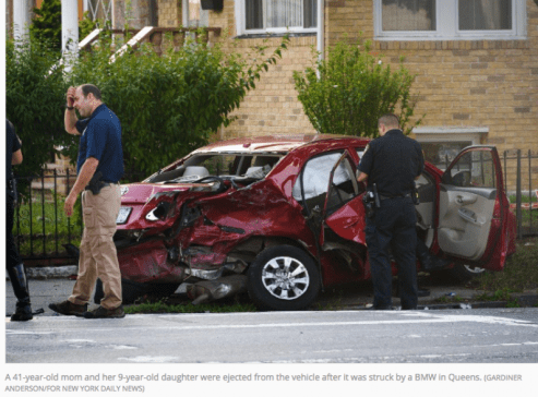 The mom, her daughter and a 71-year-old man were all riding in a red Toyota Corolla, driven by the doomed woman's 47-year-old husband, in South Ozone Park at about 5 p.m., according to authorities and witnesses. (GARDINER ANDERSON/FOR NEW YORK DAILY NEWS)