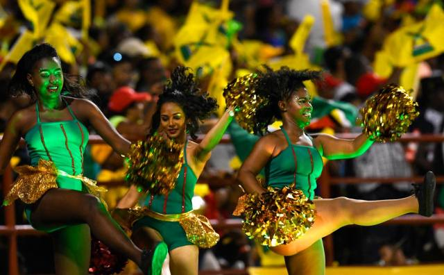 CPL cheerleaders during Match 11 of the Hero Caribbean Premier League match between Guyana Amazon Warriors and Trinbago Knight Riders at Guyana National Stadium in Providence, Guyana. Photo by Randy Brooks/Sportsfile