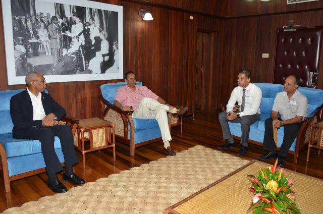 President David Granger in discussion with the doctors from the Georgetown Public Hospital Corporation. Seated to the President's left is President of the Scouts Association of Guyana, Mr. Ramsay Ali, Dr. Amarnauth Dukhi and Dr. Sheik Amir.