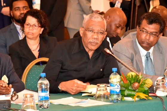 President David Granger makes a point during the Plenary session, which was held earlier today at the Pegasus Hotel.