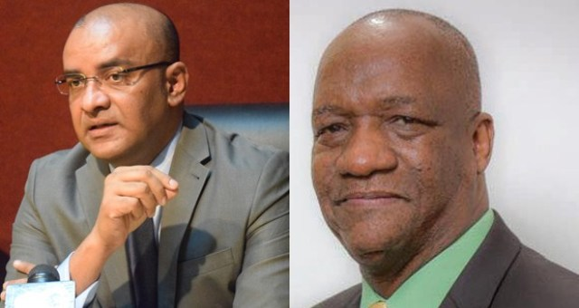 Opposition Leader, Bharrat Jagdeo (L) and Minister of State, Joseph Harmon