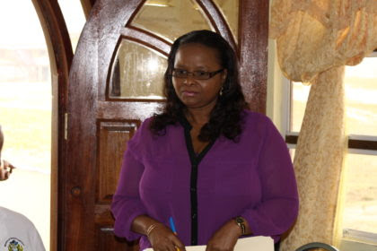 Minister of Social Protection, Volda Lawrence on a recent outreach exercise to Mahdia, Region 8 (GINA photo)