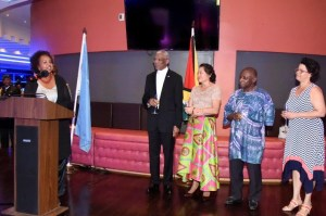 Outgoing United Nations Representative in Guyana, Ms. Khadija Musa makes a point to President David Granger, during her brief remarks, last evening, at the farewell reception held in her honour at the Pegasus Hotel.