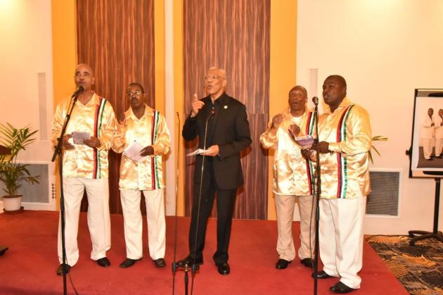 President Granger surprised the audience with a performance with the Victoria Region Quartet, formerly known as the Circle of Love. (GINA photo)