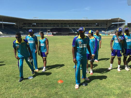Barbados Tridents players going through their paces at Sabina Park today in preparation for tonight's match (CPL Facebook photo)