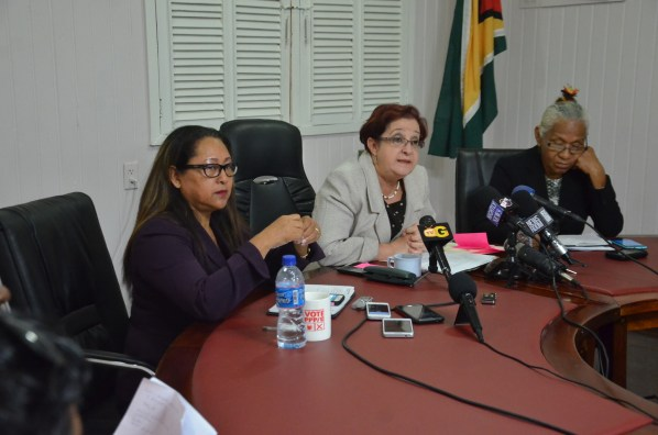 The People's Progressive Party Civic members from left former Minister of Amerindian Affairs Pauline Sukhai, PPPC Chief Whip Gail Teixeira and Former Head of the National Toshaos Councils Yvonne Pearson
