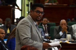 Opposition Member of Parliament, Irfaan Ali addressing the National Assembly