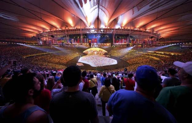 Performers take part in the Opening Ceremony of the Rio 2016 Olympic Games at the Maracana Stadium in Rio de Janeiro. (NBC photo)
