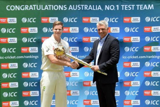 It was only two weeks ago that Steven Smith was handed the Test Championship mace by ICC chief executive David Richardson ( ICC photo)