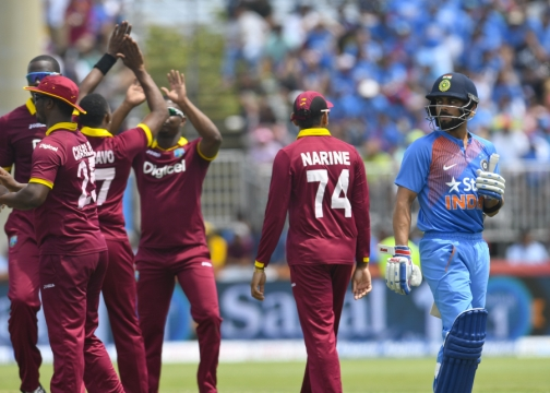 West Indies beat India by 1 run in first T20 (AFP photo)