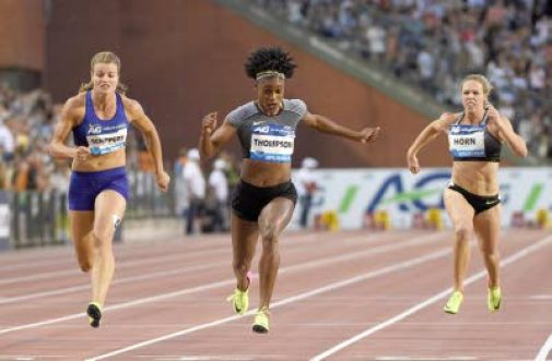 Jamaican Elaine Thompson (centre) wins the 100m women's event ahead of The Netherlands' Dafne Schippers (left) and South Africa's Carina Horn at the Memorial van Damme athletics Diamond League meet in Brussels, Belgium on September 9, 2016. (Photo: AFP)