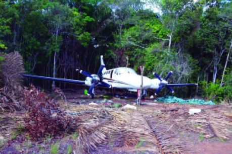 The abandoned twin-engine Cessna aircraft found just off the Yupukari Airstrip on Tuesday last