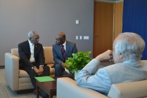 President David Granger and Foreign Minister, Mr. Carl Greenidge in discussion with Sir Shridath Ramphal prior to the meeting with the UN Secretary-General, Mr. Ban Ki-moon.