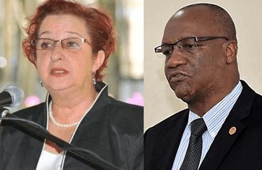 Opposition MP Gail Teixeira State Minister Joseph Harmon