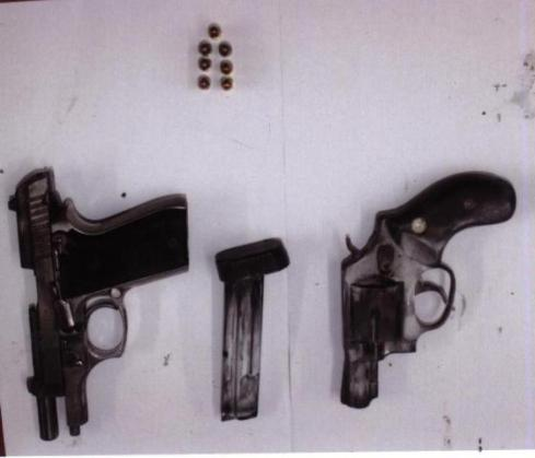 The guns and ammo found earlier today by cops