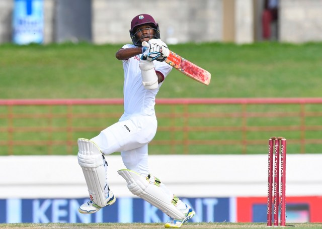 Kraigg Brathwaite of West Indies hits 4 during day 2 of the 3rd Test between West Indies and India August 10, 2016 at Darren Sammy National Cricket Stadium Gros Islet, St. Lucia. / AFP / Randy BROOKS        (Photo credit should read RANDY BROOKS/AFP/Getty Images)