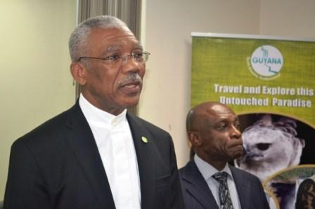President David Granger addressing the gathering at the Guyana Mission yesterday