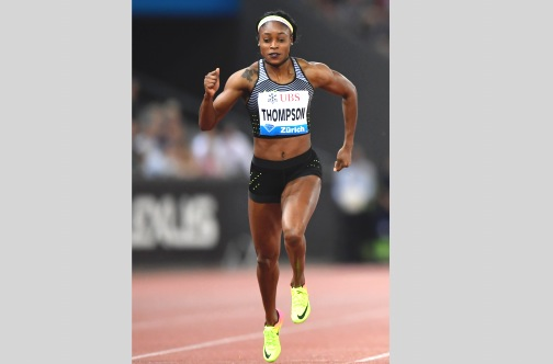 Jamaica's Elaine Thompson in winning stride in the women's 200m at the Zurich Diamond League meeting at the Letziground stadium in Zurich, Switzerland on Thursday. (Photo: AFP)