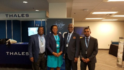 From left to right Lt. Col. Rtd. Lawrence London, Chairman, GCAA Board; Hon. Annette Ferguson, M.P, Minister within the Ministry of Public Infrastructure; Lt. Col. Egbert Field, Director General GCAA; and Mr. Saheed Sulaman, Director, Air Transport Management