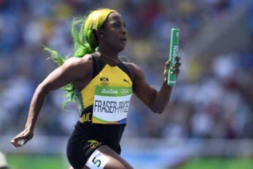 Shelly-Ann Fraser-Pryce takes home the 4x100m relay team. (Photo: Bryan Cummings/ Jamaica Observer)