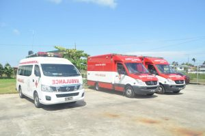 Three of the five ambulances that will be used by the National Emergency Medical Services