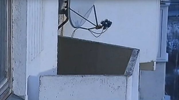 Russian TV reports that he fell to his death from this balcony (Rossiya 24 TV grab)