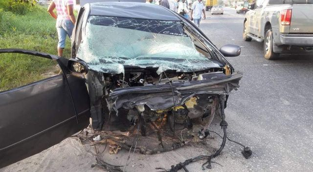 WRECKED: The mangled car after the accident