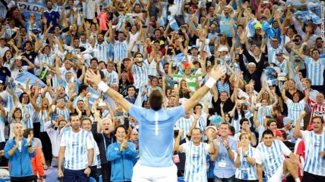 Argentina's Juan Martin del Potro celebrates winning his singles match against Croatia's Marin Cilic.