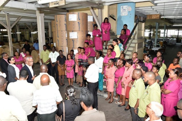President David Granger addressing workers of the Guyana National Printers Limited (GNPL) yesterday