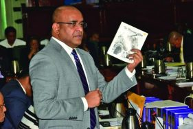 Opposition Leader Bharrat Jagdeo as he made his presentation in Parliament on Friday