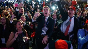 Trump supporters cheer election returns in New York. (CNN)