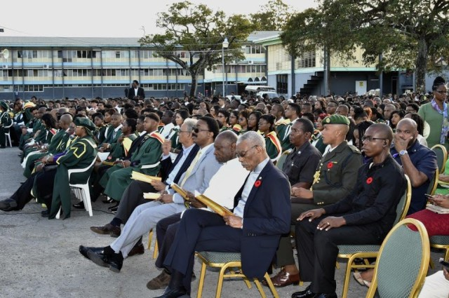 President David Granger, acting Prime Minister, Mr. Carl Greenidge and other Ministers of the Government, at the 50th Convocation ceremony of the University of Guyana, which was held at the University's Turkeyen Campus