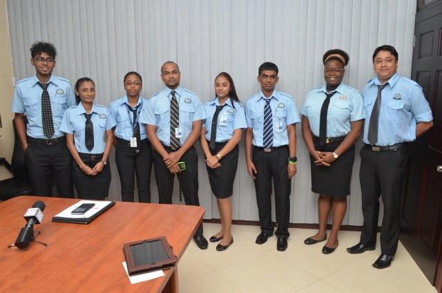 Guyana Civil Aviation Authority (GCAA) Air Traffic Control Training officers that excelled; Yogeshwar Bodyadhar, Karen Budhoo, Safina Latchman, David Sundar, Joann Lall, Devindra Kissoon, Conny Wills, and Tyrone Persaud.