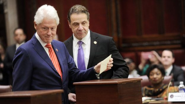 One of the electors in New York was Bill Clinton (L), who angrily lashed out at Mr Trump (AP Image)