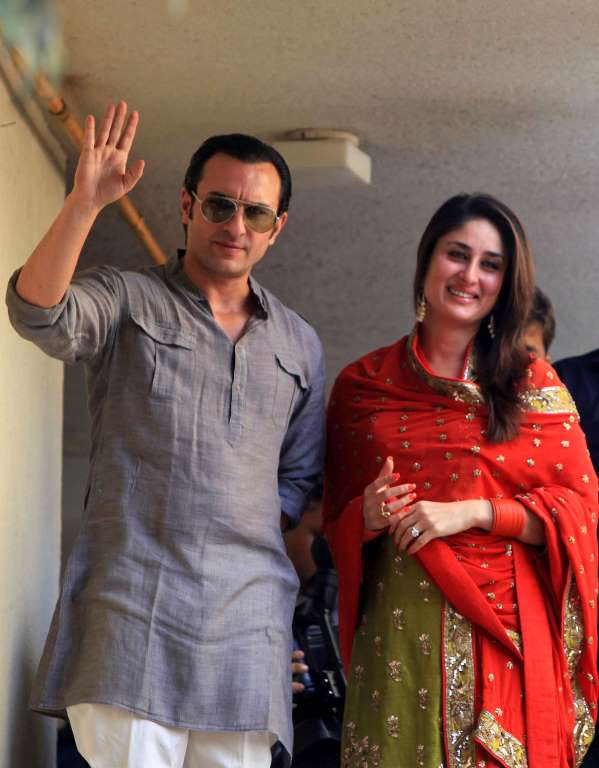 © Rajanish Kakade/AP Saif Ali Khan, left, and Kareena Kapoor announced the birth of their son in a Mumbai hospital in a tweet on Tuesday.