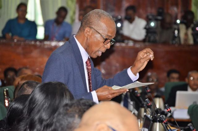 Joe Hamilton yesterday during the opening day of debates on the 2017 national budget