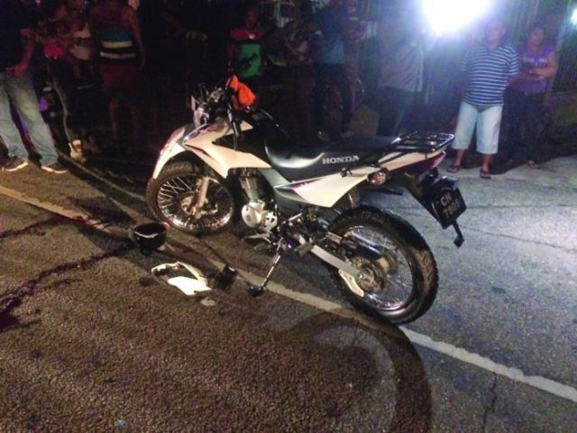 The motorcycle involved in the accident
