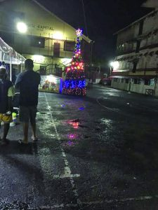 The lit tree inside the compound of the Georgetown Prison