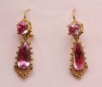 pink topaz and rock crystal earrings - Inez Stodel