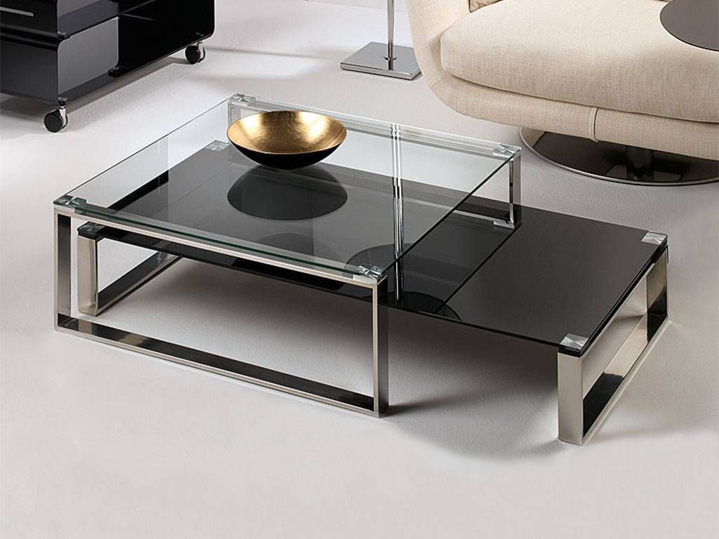table basse de salon en verre Stain