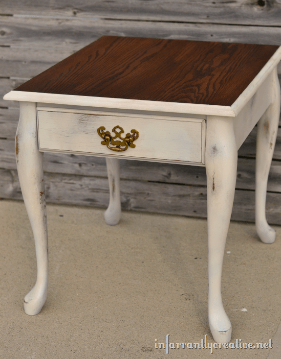 spray painted table stained top
