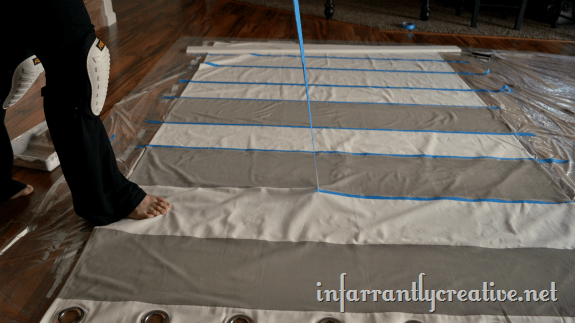removing tape to reveal stripes