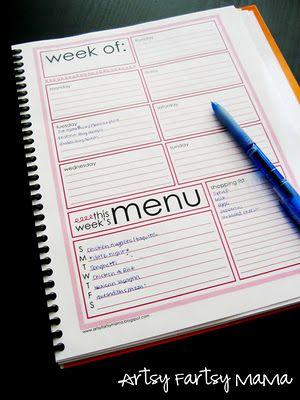 Artsy Fartsy Mama weekly planner