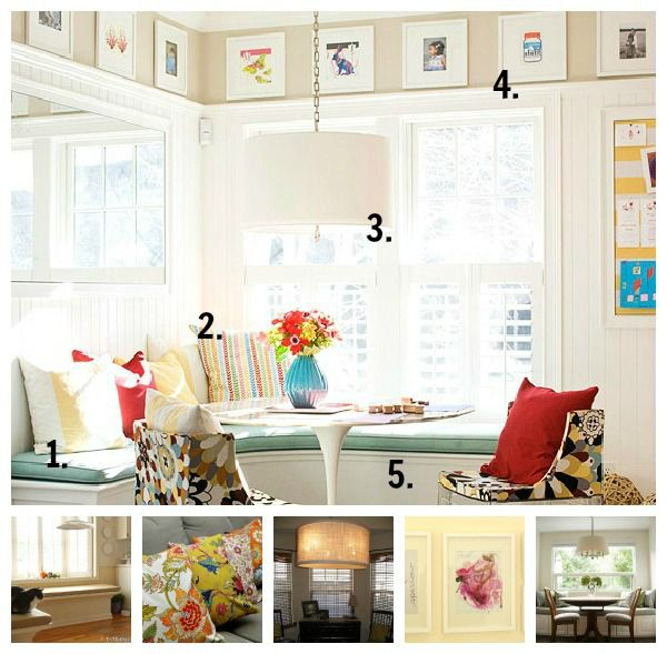 Banquette Dining collage numbered