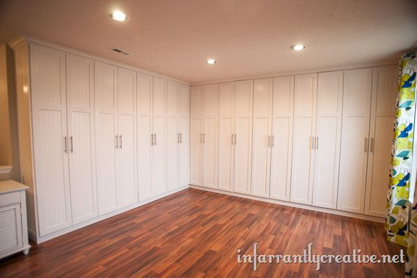 White painted studio built-ins