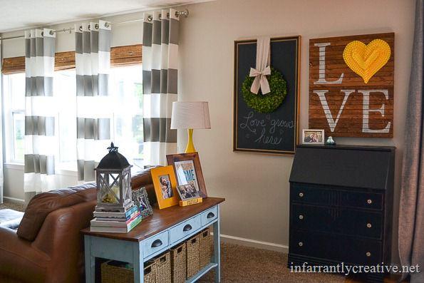 gray yellow and aqua living room